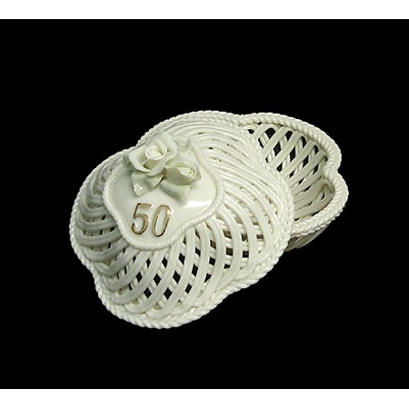 50th Wedding Anniversary White Porcelain Keepsake Trinket Box #42653 - Limoges Trinket Box Porcelain