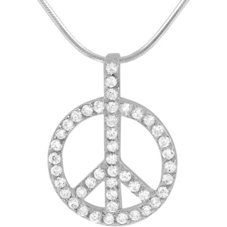 Image of Alexandria CZ Sterling Silver Peace Sign Pendant, 18""