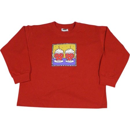 Mulberribush - Little Girls Long Sleeve Hot Mugs Shirt RED / 4/5