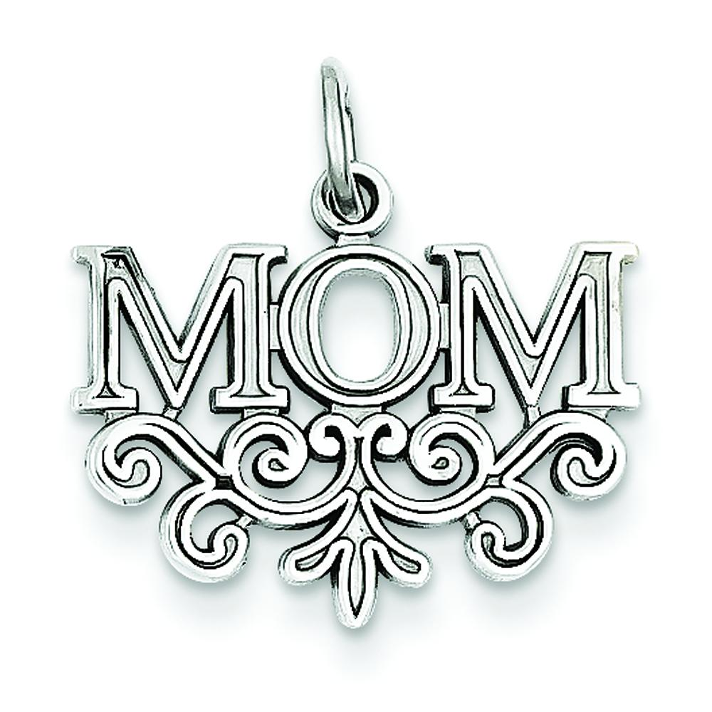 14K White Gold Mom Charm Family Mother Jewelry Pendant
