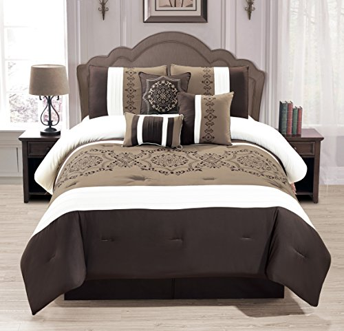 WPM 7 Pieces Complete Bedding Ensemble Brown taupe Victorian print Luxury Embroidery Comforter