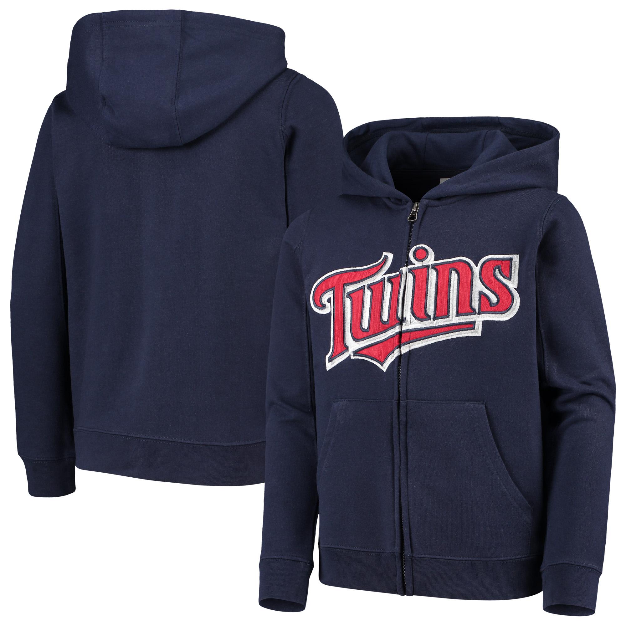 Minnesota Twins Youth Team Color Wordmark Full-Zip Hoodie - Navy