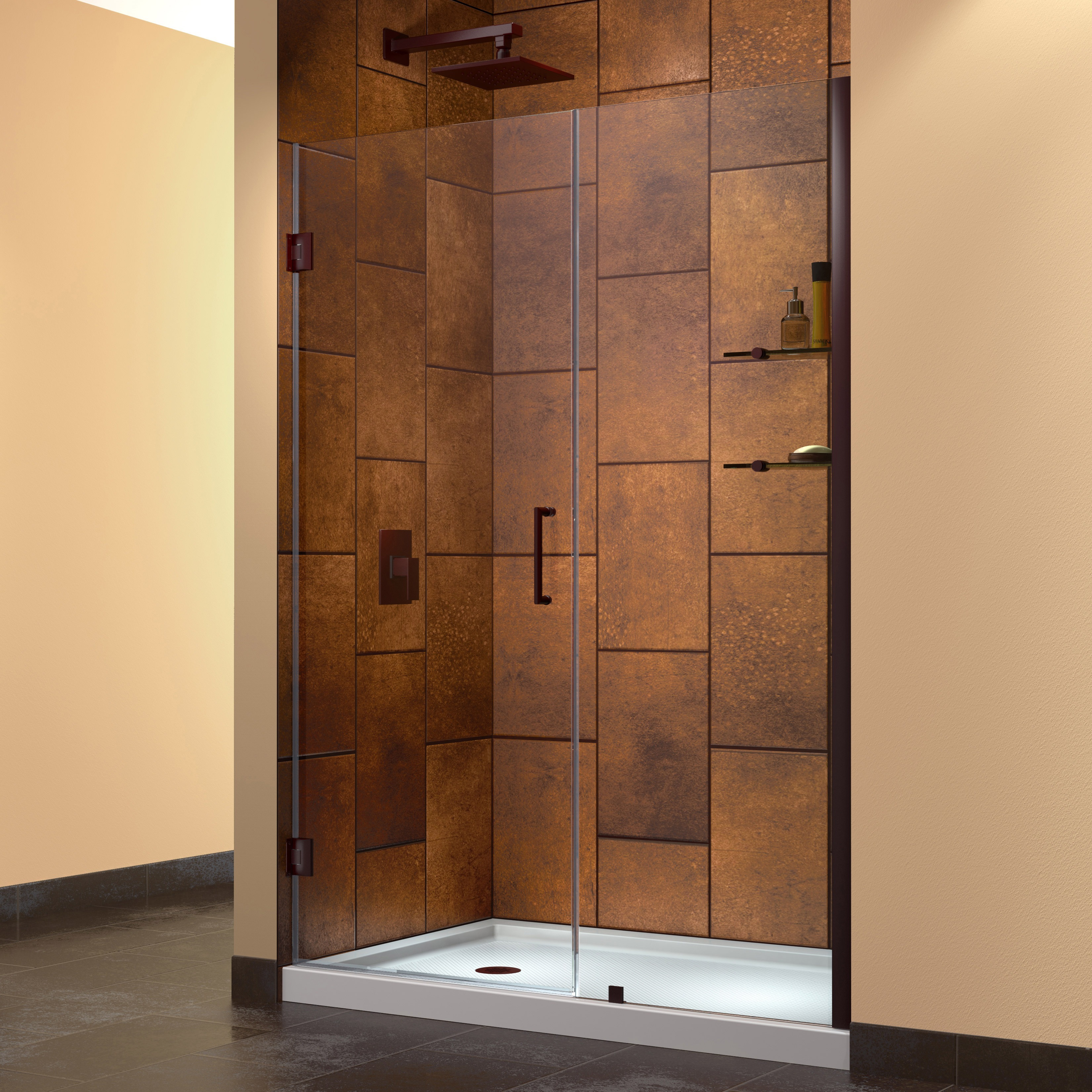 DreamLine Unidoor 52-inch Min to 53-inch Max Frameless Hinged Shower ...