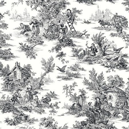 York Wallcoverings Black & White AT4228 Champagne Toile Wallpaper, (Champagne Wallpaper)