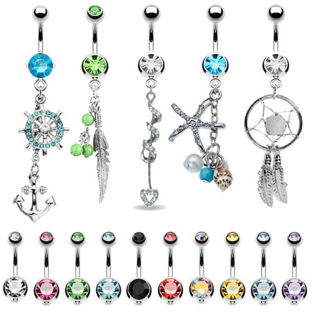 BodyJ4You 15 Belly Button Rings Dangle Barbells 14G Stainless Steel CZ Navel Body (Barbell Ring 14g 14 Gauge)