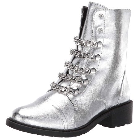 Circus by Sam Edelman Women's Dacey Silver Metallic Crackle Fashion Combat Boot (6, Soft Silver Metallic Crackle)