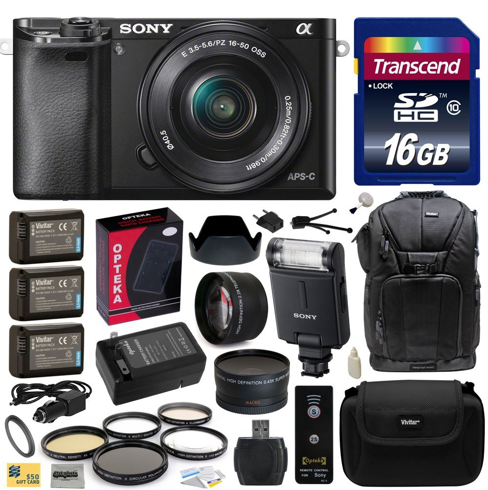 Sony Alpha a6000 24.3 MP Interchangeable Mirrorless Lens Camera with 16-50mm with Sony HVL-F20M Flash + 16GB Memory Card + x3 NP-FW50 + Charger + 2.2x + .43x Lens + $50 Gift Card for Digital Prints
