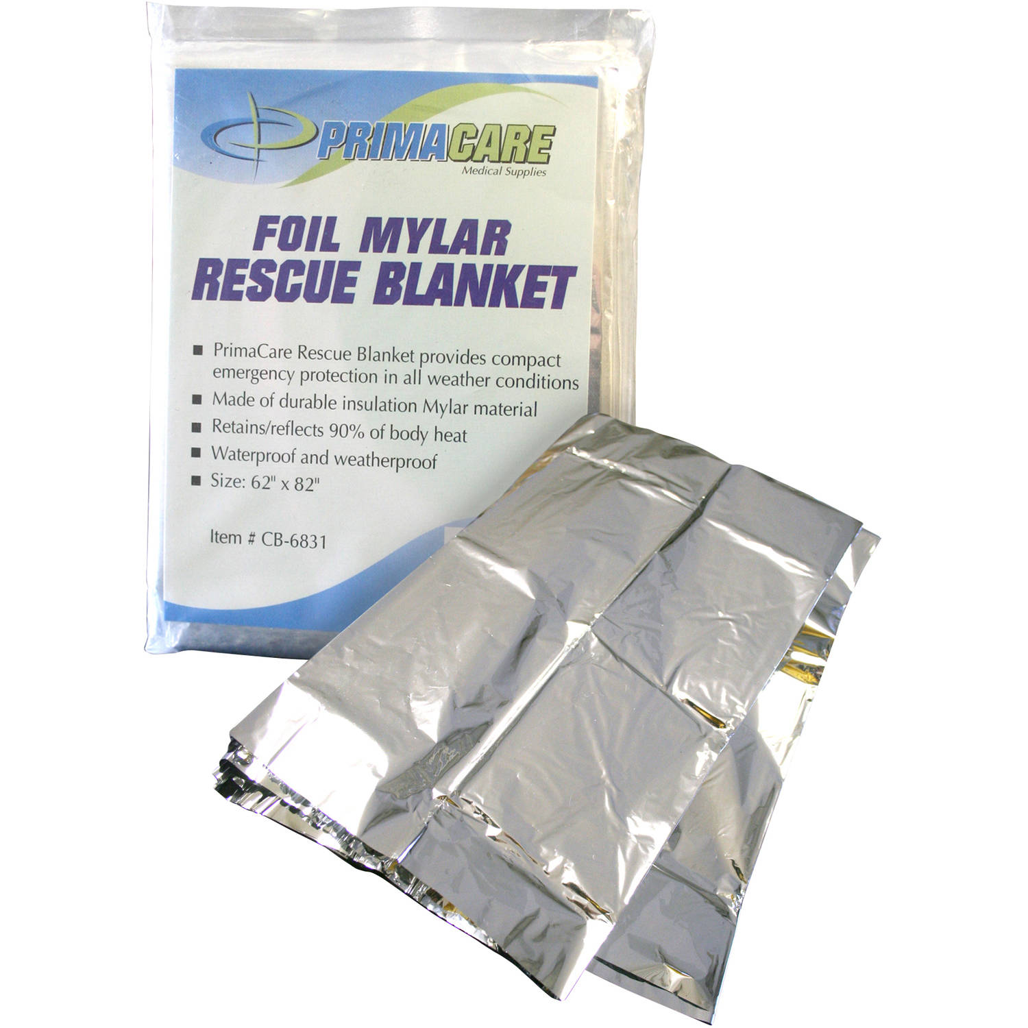 Primacare CB-6831-CS Emergency Foil Mylar Thermal Blanket, 12 count by Primacare