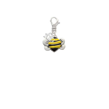 Silvertone Large Enamel Bumble Bee - 2019 Clip on Charm