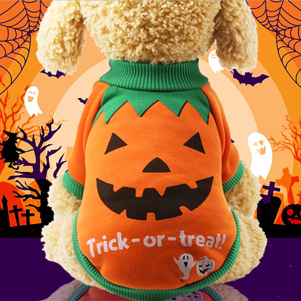 Mosunx Halloween Pet Puppy Orange Pumpkin Sweatshirts Dog Clothes Costume