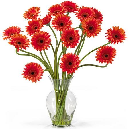 Nearly Natural Gerber Daisy Liquid Illusion Silk Flower Arrangement, Orange