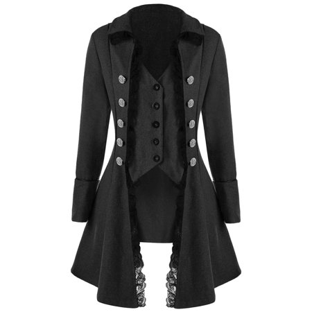 Women Coat Dress Long Sleeve Retro Lace Trim Button Up Vintage Irregular Tailcoat Outwear Gothic