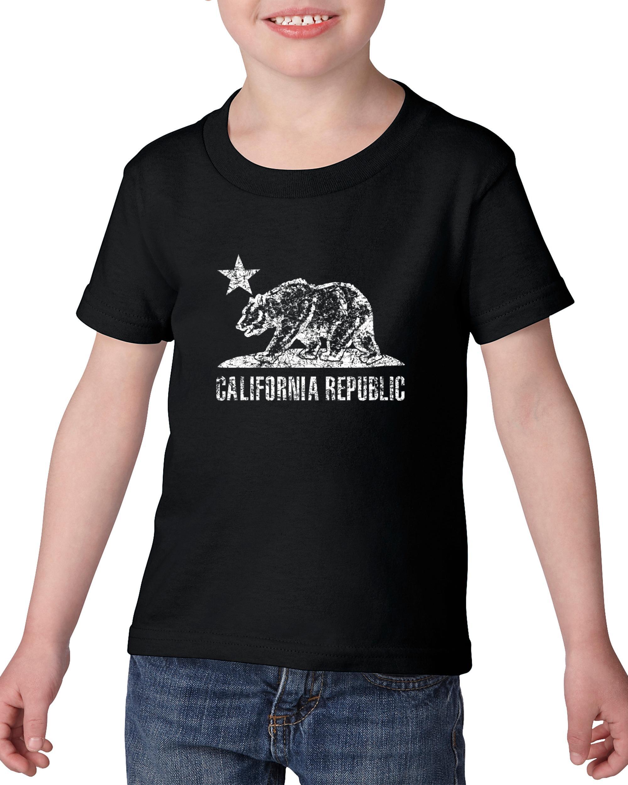 Artix California Republic Bear White Toddler Kids T-Shirt Tee Clothing