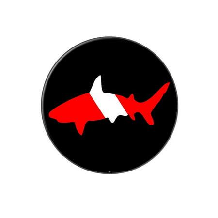 Shark Scuba Symbol on Black - Diver Dive Lapel Hat Pin Tie Tack Large Round Diver Collectible Scuba Diving Pin