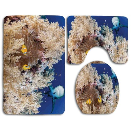 GOHAO Sea Reef Little Clown Fish and Sharks East Egyptian Red Sea Life Scenery 3 Piece Bathroom Rugs Set Bath Rug Contour Mat and Toilet Lid Cover