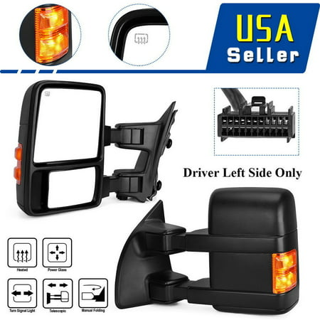 Driver Left Tow Mirror for 08-16 Ford F250 F350 Super Duty Power Heated Signals