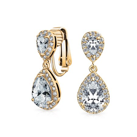 Teardrop AAA CZ Halo Prom Dangle Drop Statement Clip On Earrings Cubic Zirconia Silver 14K Gold Plated Brass More Colors