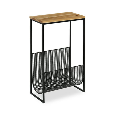 Kate and Laurel - Galen Accent Side Table and Magazine Rack with Natural Wood Top and Black Metal Base