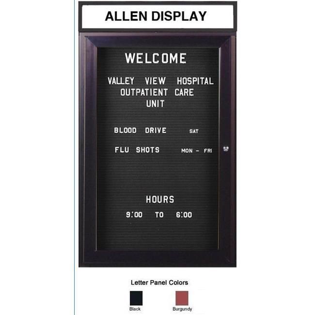 Ghent PBB4-BG 36 in. x 36 in. 1-Door Bronze Alum Frame with Headliner Enclosed Burgundy Changeable Letterboard