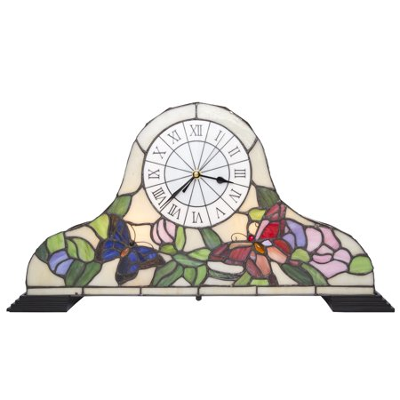 River of Goods Butterfly Garden Stained Glass Mantle Clock