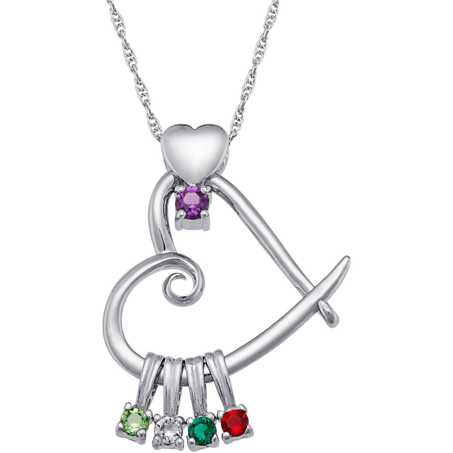 Personalized Sterling Silver or 14K Gold over Silver Mother's Birthstone Heart Pendant, 20""