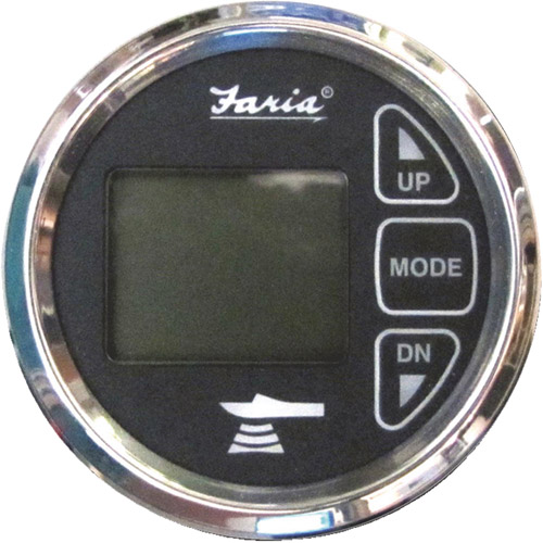 Faria In-Dash Dual Temperature Digital Depth Sounder with Transom Mounted Transducer and Temperature Sender, Chesapeake SS