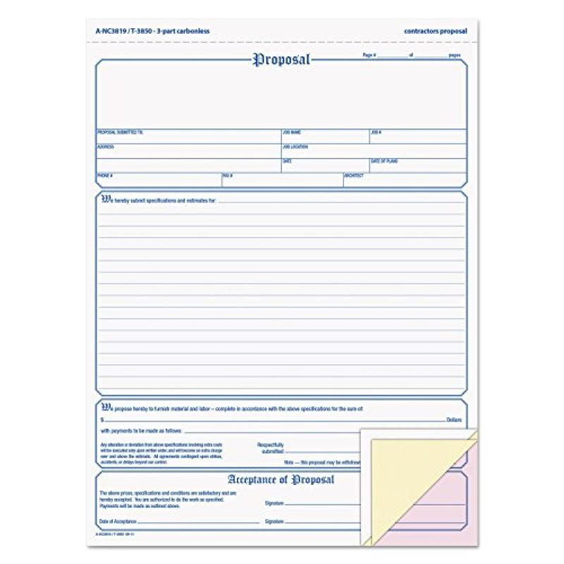 Tops 3850 - Snap-Off Proposal Form, 8-1/2 x 11, Three-Part Carbonless, 50 Forms