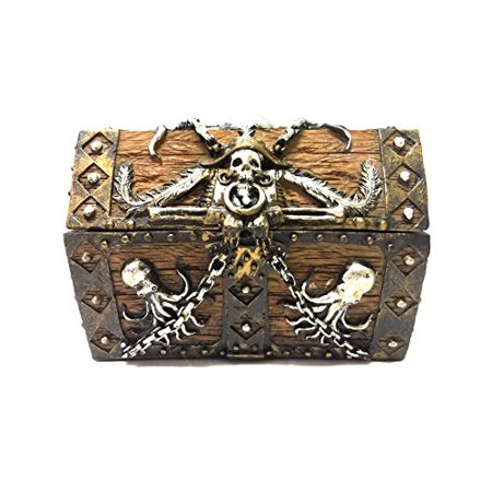 5.5 Inch Skull and Chain Pirate's Chest Jewelry/Trinket Box Figurine Baby Chain Jewelry Box