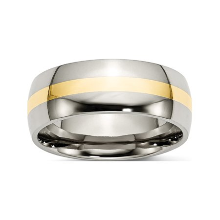 Designer Titanium/14K Two-Tone Titanium 14K Yellow Inlay 8Mm Polished Band (Width=8.00) Made In China -Jewelry By Sweet Pea Creations