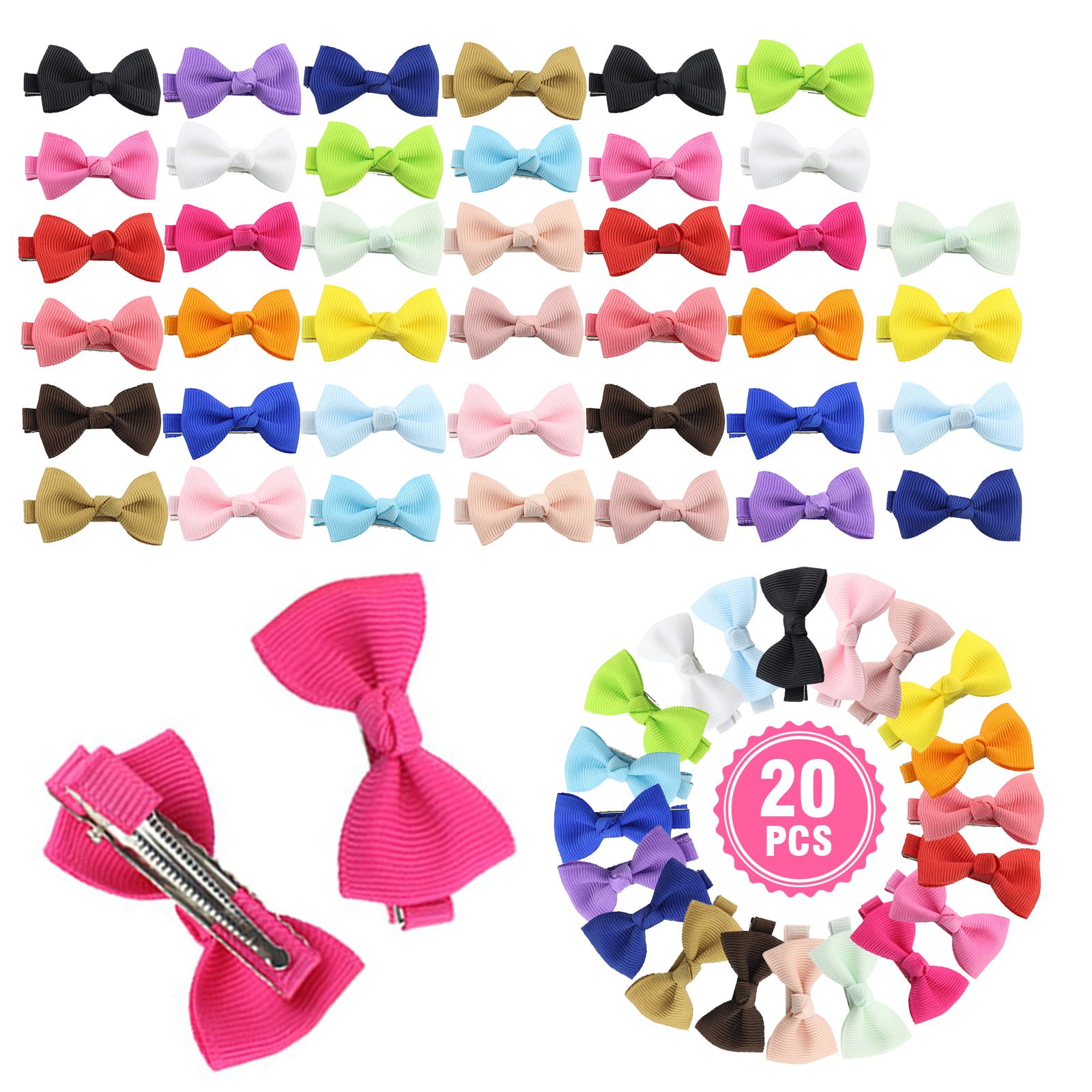 """Baby//Girls 4 /"""" Boutique Ribbon Half Crystal Covered Bow on Alligator Clip"""