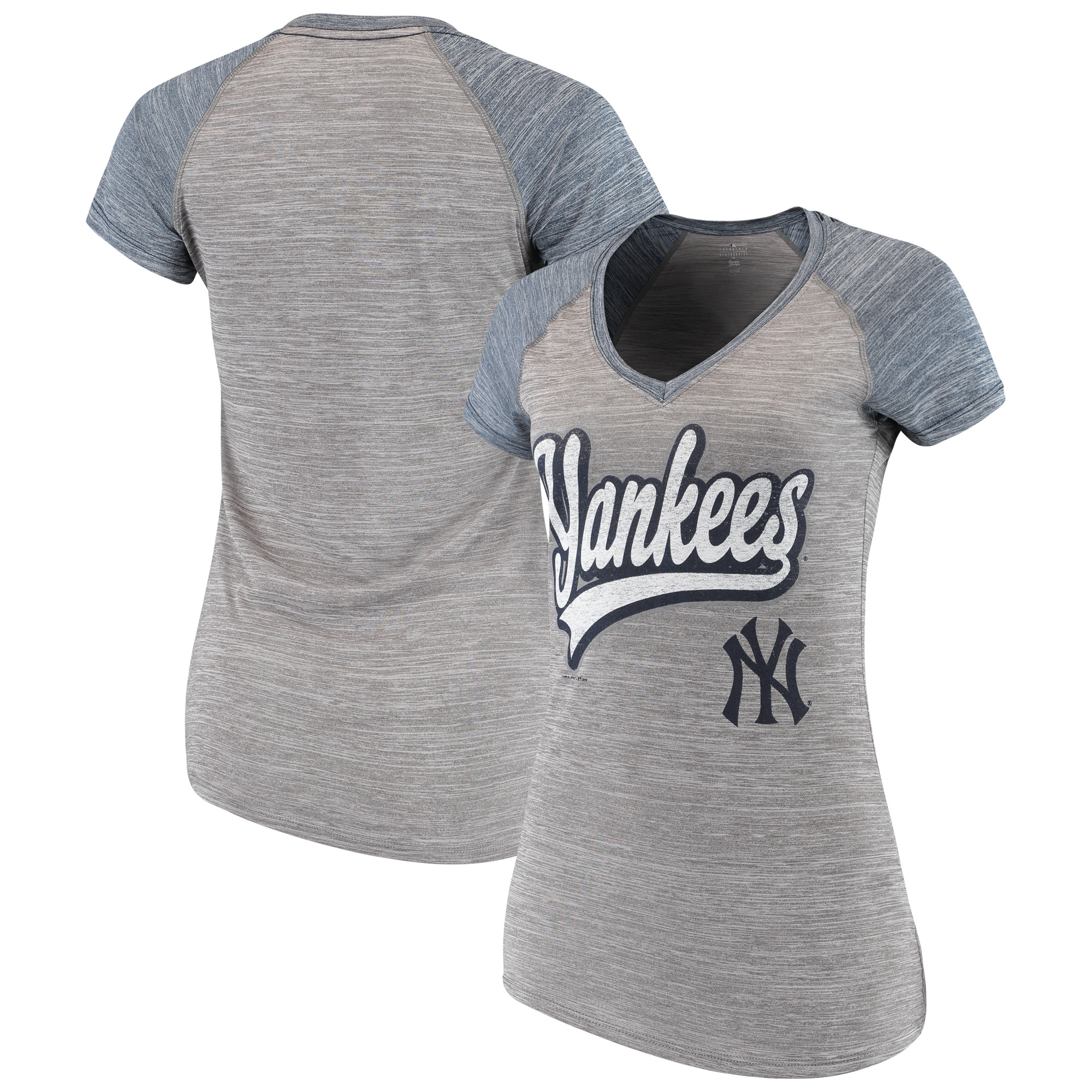 Women's New Era Gray New York Yankees Space Dye V-Neck T-Shirt