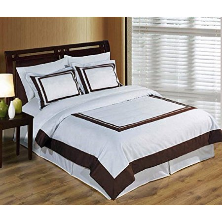 Cotton Duvet Comforter - White - Chocolate Twin / Twin XL 300 Thread Count 100% Combed Cotton Duvet Cover Set with Pillowshams & Goose Down Alternative Comforter