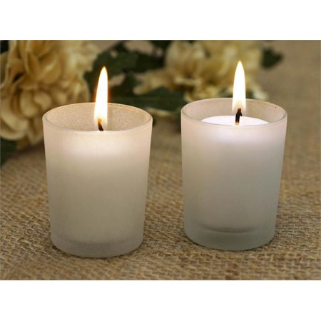 12 PCS Frosted Votive Candle Tea Light Holders & White Candles Frosted Votive Candle Favors