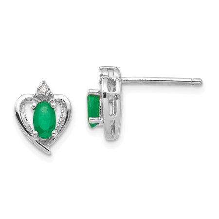 Roy Rose Jewelry 14K White Gold Emerald Diamond -