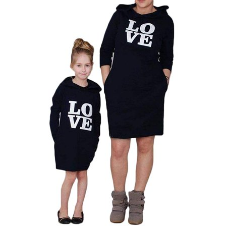 Mommy and Me Matching Love Printed Pullover Hoodie Dress Parent-Child Family Long Sleeve Pockets Sweatshirt Outfits (Mom Kids Hoodie)