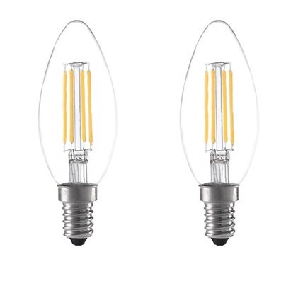 Anyray (2)-Bulbs 40Watts Equivalent Soft White B10 Torpedo Clear Lens 120V Chandelier Decorative Candelabra Base LED Light Bulb 360 Beam Warm White 40W (Decorative Torpedo)