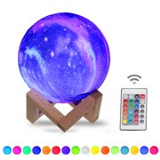 20cm/7.9in 3D Printing Star Moon Lamp USB Led Moon Shaped Table Night Light with Base 16 Colors Changing Touch and Remote Control Star Light Decor Gifts