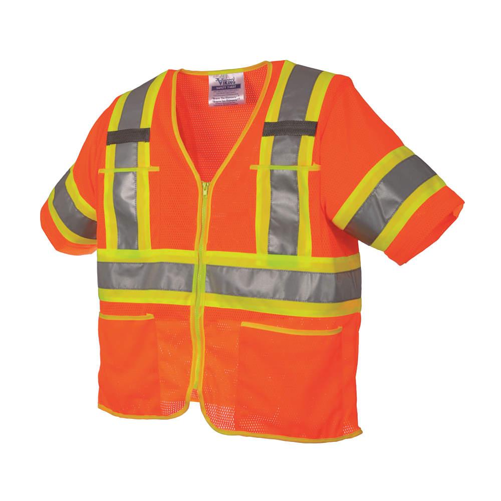 VIKING High Visibility Vest, Class 3,3XL, Orange U6155O-3XL