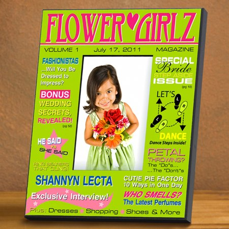 Personalized Flower Girl Magazine Frame - Green