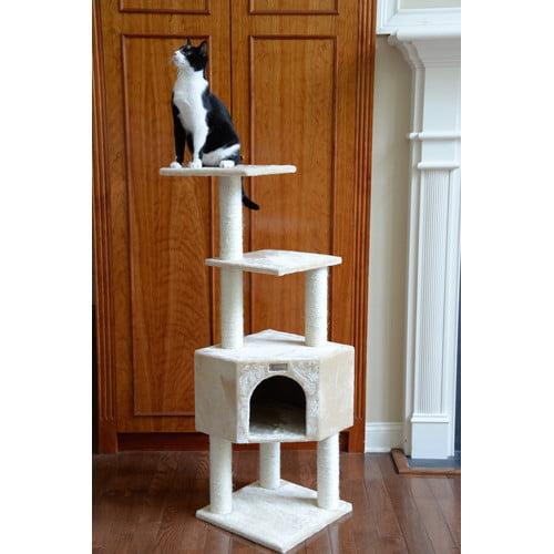 "Gleepet Cat Tree-Color:Beige,Size:14""D x 19.5""W x 48""H"