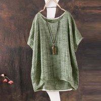 Women Summer Bat sleeve Casual Loose Top Cotton Shirt Pendant Ornaments
