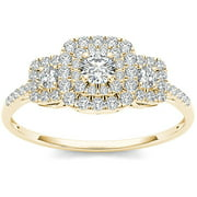 1/2 Carat T.W. Diamond 10kt Yellow Gold Double Halo Three-Stone Look Engagement Ring