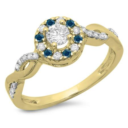 Dazzlingrock Collection 0.55 Carat (ctw) 14K Round Blue & White Diamond Swirl Halo Engagement Ring 1/2 CT, Yellow Gold, Size 5.5