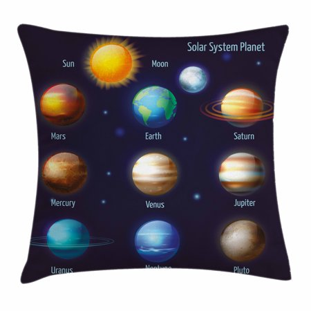 Educational Throw Pillow Cushion Cover, Solar System Planets and the Sun Pictograms Set Astronomical Colorful Design, Decorative Square Accent Pillow Case, 24 X 24 Inches, Multicolor, by -