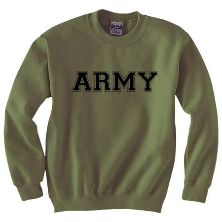 Army Crewneck Sweatshirt - Athletic ARMY crewneck Sweatshirt in Military Green