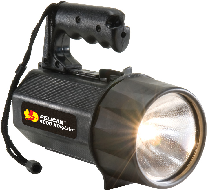 Pelican - 4000 KingLite Xenon SpotLight Flashlight - Black - (8) D Batteries