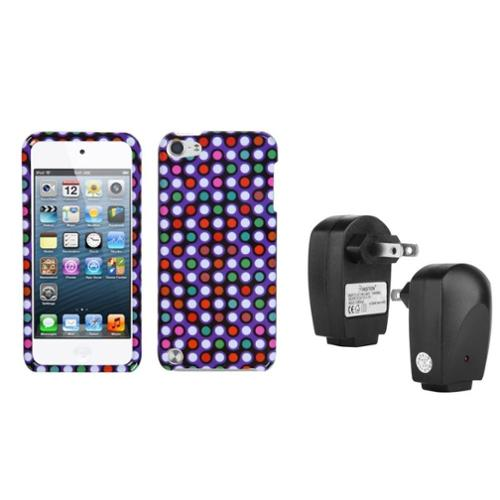 Insten Grid Dots Phone Protector Cover Case For iPod Touch 6 6G 5 5G + USB Travel Charger