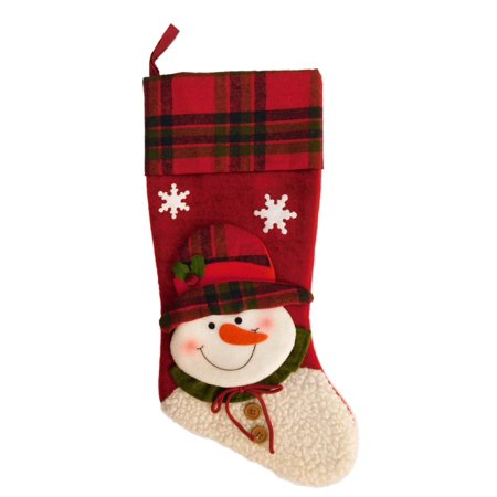 Red Plaid Printed Cuff  Snowman Christmas Stocking