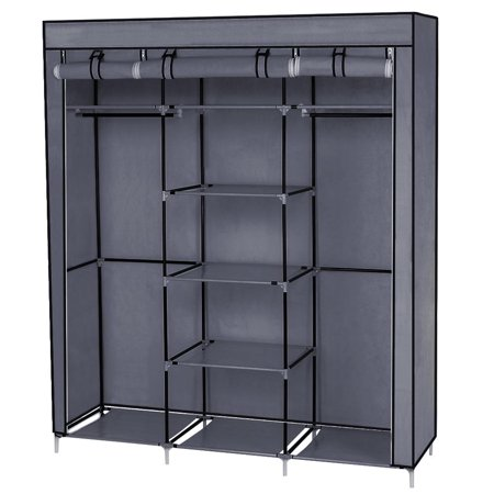 "Ktaxon 69"" Portable Clothes Closet Non-Woven Fabric Wardrobe Double Rod Storage Organizer Gray"
