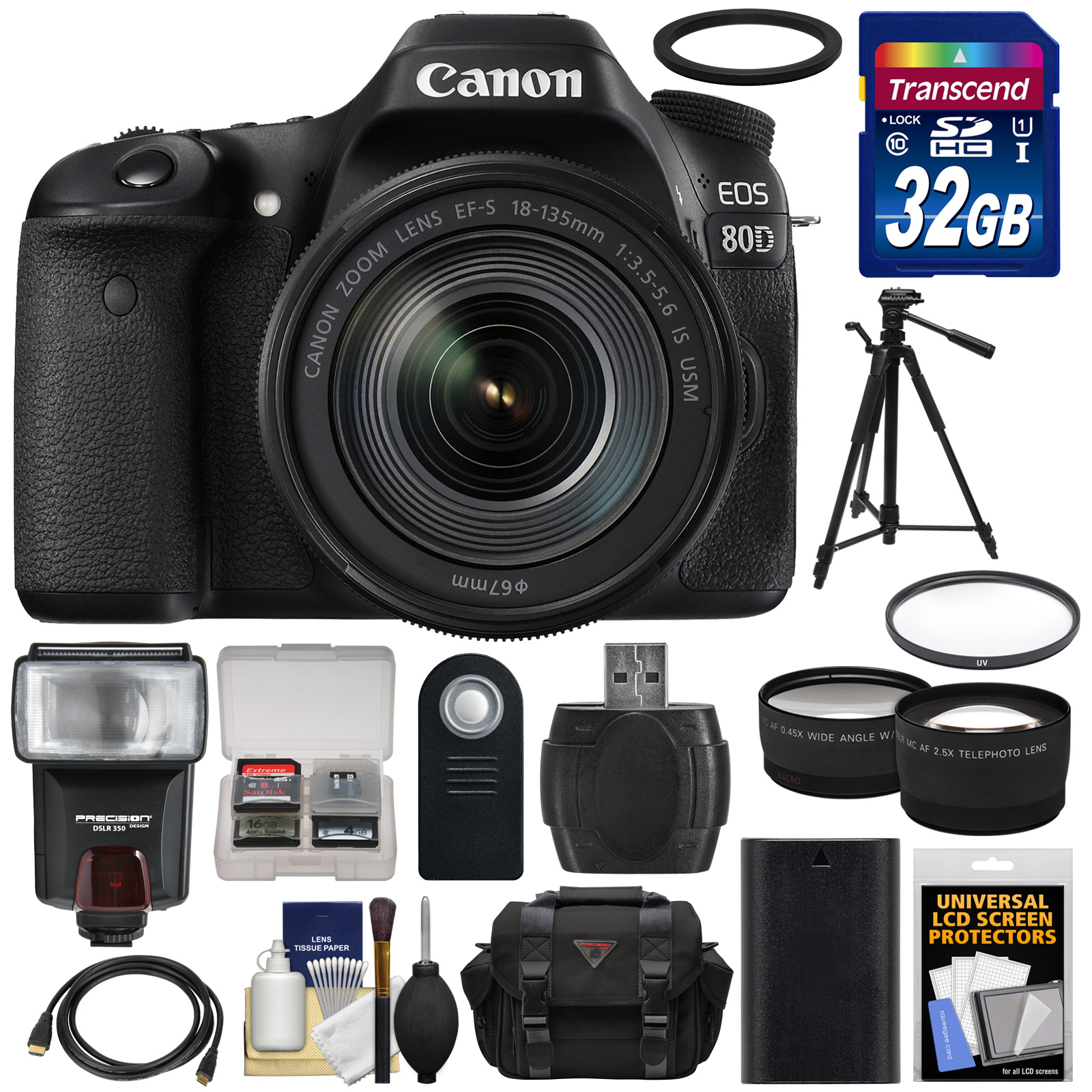 Canon EOS 80D Wi-Fi Digital SLR Camera & EF-S 18-135mm IS USM Lens with 32GB Card + Battery + Case + Filter +... by Canon